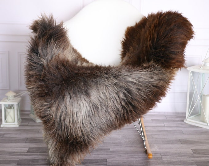Sheepskin Rug | Real Sheepskin Rug | Shaggy Rug | Scandinavian Rug | | SCANDINAVIAN DECOR | Brown Gray Sheepskin #OLHER33
