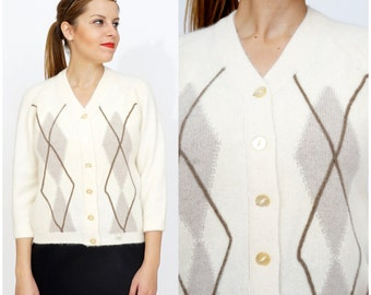Preppy NWT Vintage 1960s Soft Cream Angora Wool Cardigan Sweater with Argyle Pattern by Colebrook | Medium/Large
