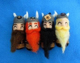 Vikings / Dwarves / Barbarians – Cute Needle Felted Character Decorations - Choose a hair colour or get a full set! - Viking tree ornaments
