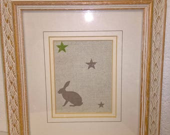 Hare and stars picture - upcycled