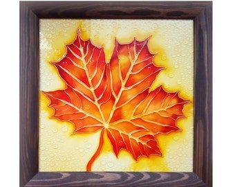 Autumn maple leaf, Painting on glass, colorful leaf