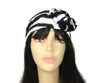 FREE SHIPPING/Custom Size Black and White Animal Print Head Wrap Zebra Print Headband Athletic Head Wrap Swim Head Wrap Swim Turban Headband