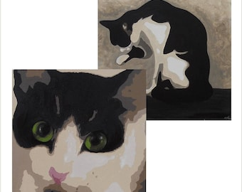 Original Cat Art Card Pack, Black and White Cat Greetings Card Pack of 2, Grooming Cat Birthday Card, Cat with Green Eyes, Blank Card