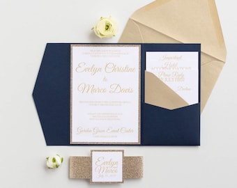 Navy and gold glitter Wedding Invitation, Navy Blue Pocketfold Wedding Invitations, blue glitter wedding invitations, midnight blue, Evelyn