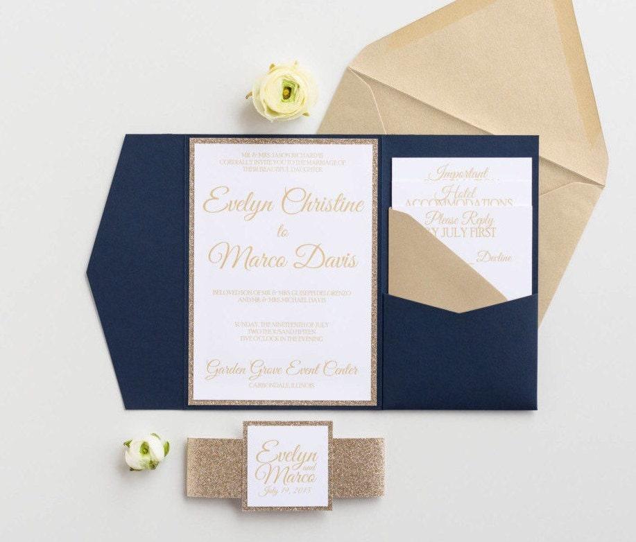 Navy and gold glitter Wedding Invitation Navy Blue Pocketfold