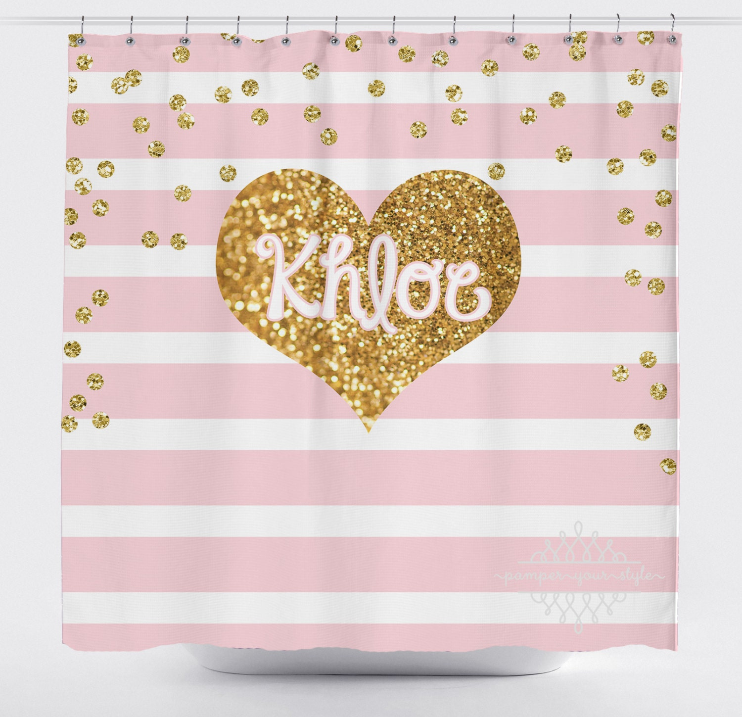 light pink stripe and gold glitter shower curtain