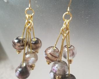 Purple/gold glass bead earrings