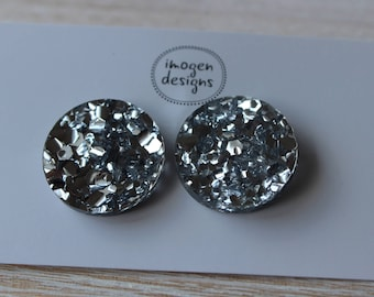 Chunky silver 3cm glitter acrylic statement stud earrings - hypoallergenic posts