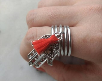 Aluminum adjustable charm and tassel ring