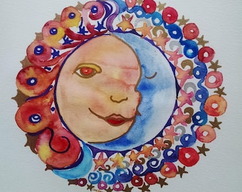 Sun moon watercolor painting, Sunshine original watercolor