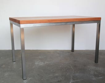 Small Desk / Dining Table With Stainless Steel Legs Solid Cherry Wood  Modern Vintage California Boos