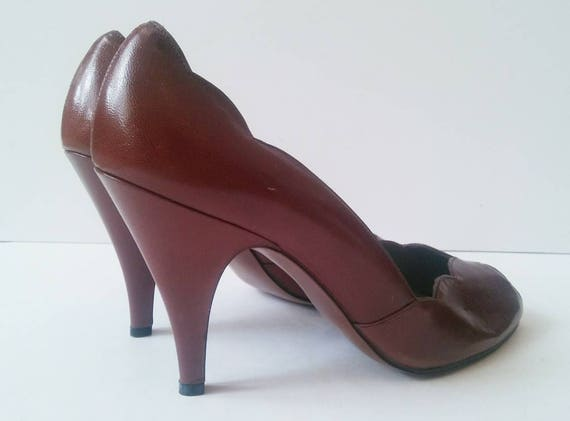 Peep Brown Career Size Wear Work Toe Vintage Toe High Vintage 9 9 Size Pappagallo Pumps Heels Vintage 80s Heel Peep Scalloped Brown Brown EaaPvnq1