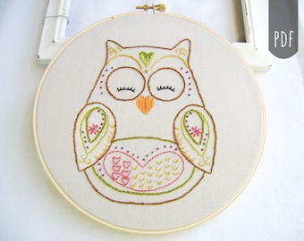 Embroidery Pattern PDF Spring Owl Hearts Flowers