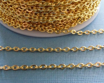 Sample 3 ft of Bright Gold finished chain /  gold over iron flat cross chain / necklace chain / jewelry chain / 3mmx2mm CHN-801