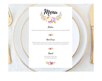 Floral Vintage Wedding Menu, Custom Wedding Menu , Wedding Menu, floral menu, pretty menu, personalised wedding menu, Watercolour Flowers