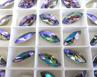 6 Paradise Shine Swarovski Crystal Stone Navette 4228 15mm x 7mm