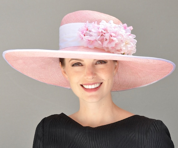 Kentucky Derby Hat, Derby Hat. Ascot Hat, Wedding Hat. Ladies Pink Hat, Wide Brim Hat