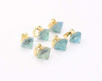 Tiny Diamond Fluorite Pendants -- With Electroplated Gold Edge Charms Wholesale Supplies CQA-029