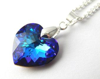 Purple Crystal Swarovski Heart Necklace - Heliotrope Crystal Necklace - Swarovski Elements - Deep Purple Teal Blue Crystal Heart Necklace