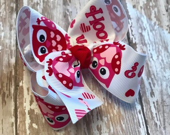 Valentine hairbow, valentine bow, hair bows