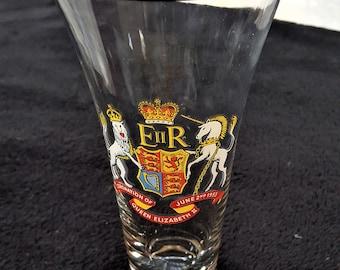 Queen Elizabeth II coronation beer glass