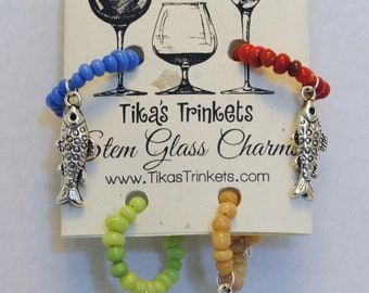 Don't Lose Your Booze! Fish Edition - Set of 4 Stem Glass Charms