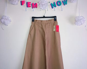 Vintage 1950s Skirt, Evan Picone - Tan A-Line with Pockets and Original Tags