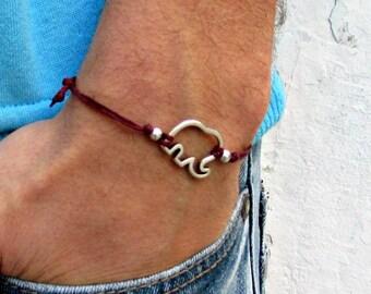 Elephant Bracelet, Men's Bracelet, Silver Elephant Charm, Cord Bracelet For Men, Gift for him, Bestfriend Bracelet, mens jewelry, Adjustable