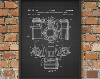 Camera Patent Print - Camera Wall Art Poster 1 - 35mm Camera Patent Print Design - Photography Invention Gift Idea - Gift For A Photographer