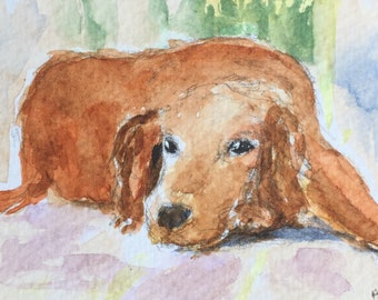Dog ORIGINAL Miniature Watercolour 'Down to Earth' Art & Collectibles, ACEO, For him, For her, Wall Art,Home Decor, Gift Idea, Free Shipping