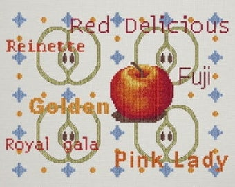 Apples (Les Pommes) – counted cross stitch chart with 6 varieties of Apple in words. Chart and key in French.  8 colours of DMC