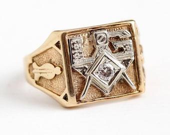 Sale - Vintage Mason Ring - 14k Rosy Yellow & White Gold Diamond Masonic Signet - Men's Size 10 3/4 Freemason Initials LG Statement Jewelry