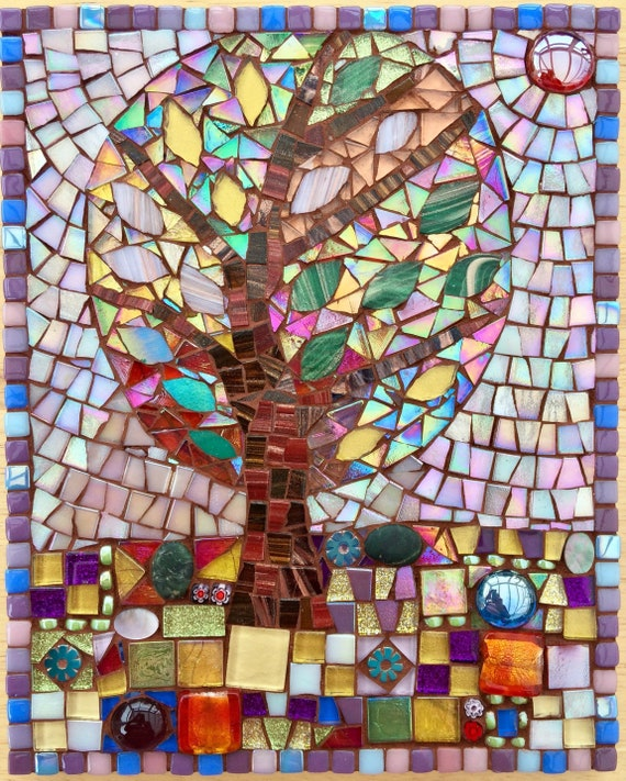 Handmade glass abstract tree folk art mosaic picture Unique gift idea Home decor Mosaic wall art 'Tree in Spring (II)'