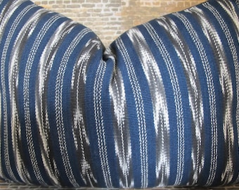 Limited - Guatemalan Woven Ikat Pillow Cover - Blue Stripe -