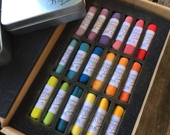 BRIGHTS set of 18     Full Sized Handmade artisan extra-fine Soft Pastels by Jazper Stardust