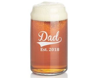 beer can glasses, new dad, etched pint glass, Father's Day, beer glasses, personalized pint glass, gift for dad, Beer glass,  pint glass