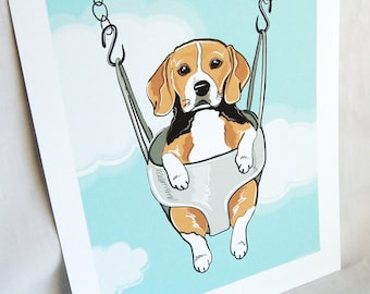 Swinging Beagle - Eco-friendly 7x9 Print