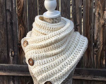 Cowl Wrap Scarf with Large Coconut Buttons