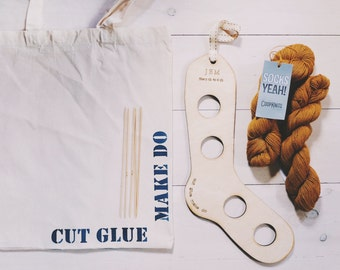 Sock knitting Kits with personalised Sock blockers