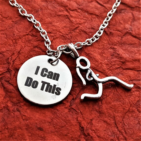 CrossFit Jewelry, Runner Gifts, Fitness Gift, Team Jewelry, I Can Do This Charm Necklace, Marathon Jewelry, Motivational Gift, Sports Charms