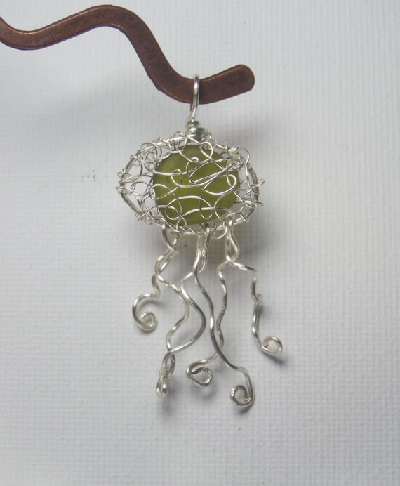 Jellyfish Necklace - Unique Birthday Gift for Her - Eco Friendly Green English Sea Glass Jewelry - Beach Jewelry