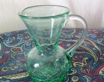 Vintage Blenko Applied Handle Art Green Crackle Glass Mini Miniature Pitcher Small