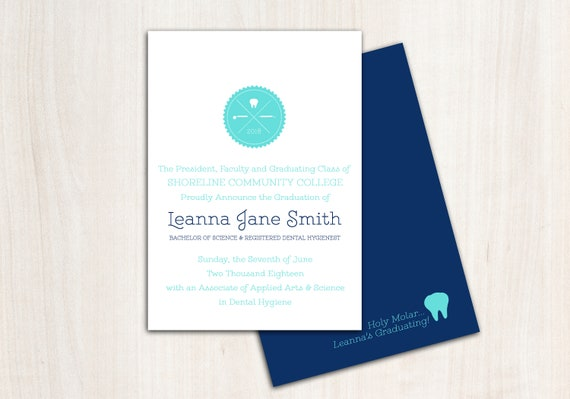 Dental Hygiene Graduation Invite - Customized Dental Grad Announcement