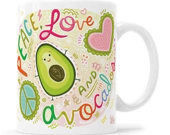 Avocado Mug Avocado Gift Avocado Mug Vegan Gift Vegan Mug Vegetarian Gift Vegetarian Mug Morning Mug Kawaii Mug Coffee Mug Peace Love Mug