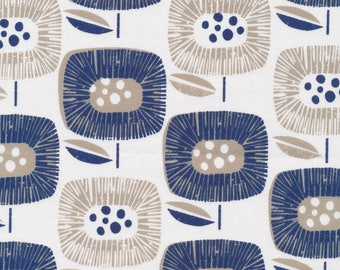 Block Blooms Navy - Around the Block - Cloud9 Fabrics - Organic Cotton - Canvas by the Yard