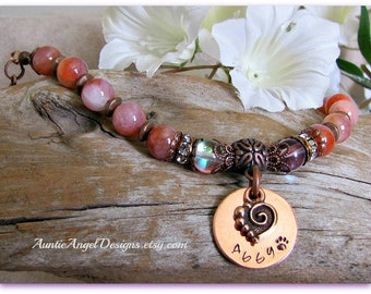 Copper Swirl Heart Stamped Paw Print Bracelet; Custom Paw Print Jewelry; Copper Name Stamped Pet Jewelry, Personalized Dog and Cat Jewelry
