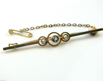 Ladies 15ct Gold Brooch with Pearls & Topaz Stone. Ref: 35969