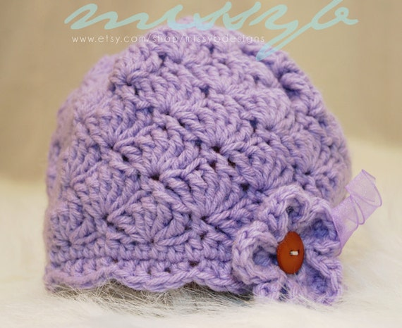 Crochet Baby Hat Pattern Shell And Scallops Pretty Hat 3 To 6