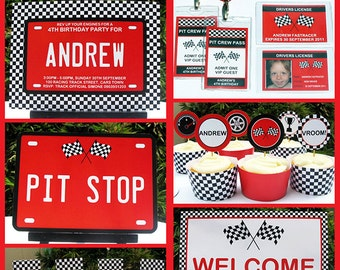 Race Car Party Invitation & Decorations - full Printable Package - INSTANT DOWNLOAD with EDITABLE text - you personalize at home