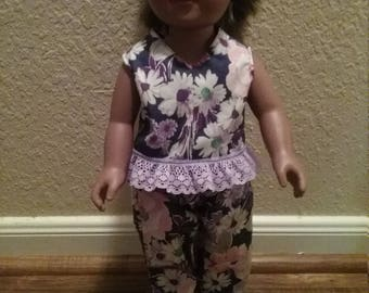 "Handmade clothes to fit for 18""dolls, My Generation dolls, American or other similar dolls, Doll top and pants set by Mvious Da'Zigns"